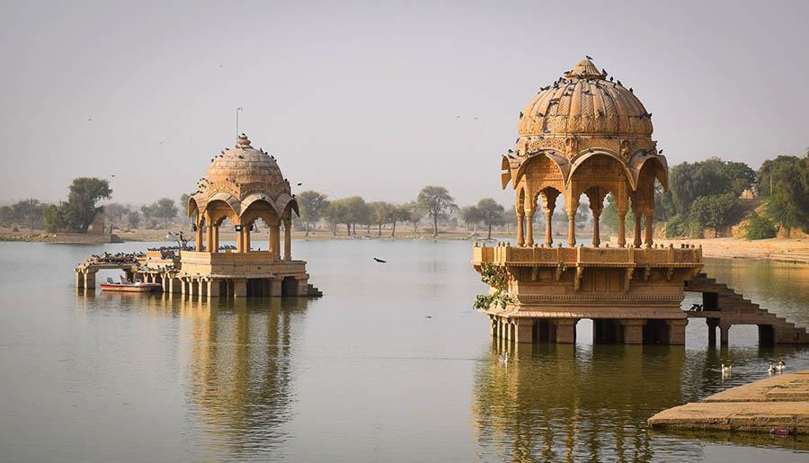 Cenotaph on Gadsisar lake in Jaisalmer, Rajasthan